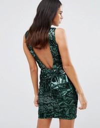 Платье мини с V-образным вырезом и пайетками Forever Unique Gladice - Зеленый