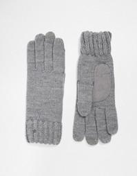 Вязаные перчатки с накладками для сенсорных экранов на 3 пальцах Totes - Серый