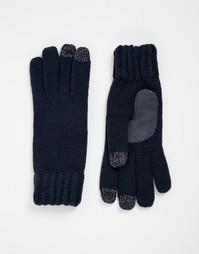 Вязаные перчатки с накладками для сенсорных экранов на 3 пальцах Totes - Темно-синий