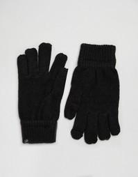 Перчатки для смартфона цвета металлик Plush - Черный