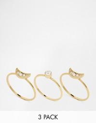 Комплект составных колец со стразами Orelia - Золотой