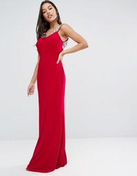 Платье макси с отделкой на вороте Forever Unique Edna - Красный