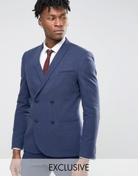 Зауженный фланелевый пиджак Noak - Темно-синий
