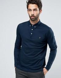 Темно-синяя футболка-поло слим с длинными рукавами Farah - Темно-синий