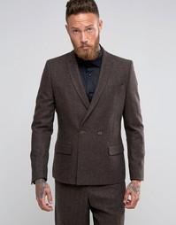 Коричневый пиджак слим в елочку ASOS - Коричневый