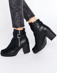 Мягкие ботинки в кожаном стиле на каблуке с молнией Blink - Черный