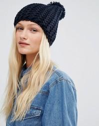 Шапка-бини с вязкой в стиле шевронов Hat Attack - Темно-синий