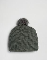 Вязаная шапка-бини с помпоном Hat Attack - Серый