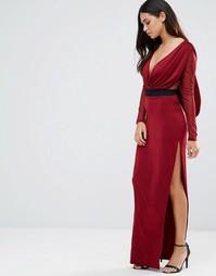 Платье макси с V-образным вырезом, прозрачными рукавами и контрастным поясом Hedonia - Красный