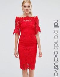 Кружевное платье‑футляр с широким вырезом Paper Dolls Tall - Красный