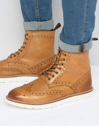 Frank Wright Brogue Boots With Contrast Sole - Рыжий