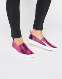 London Pink Metallic Rebel Slip on Trainers - Розовый