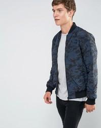 Стеганая куртка-пилот с камуфляжным принтом Brave Soul - Темно-синий