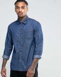Темная рубашка из ткани добби Tokyo Laundry - Синий