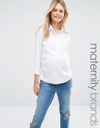 Тканая рубашка в строгом стиле Mamalicious - Белый Mama.Licious