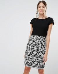 Платье из двойного трикотажа с монохромным принтом Closet - Черный