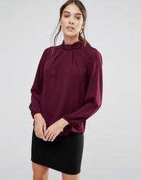 Блузка с длинными рукавами и бантом у горловины Closet - Фиолетовый