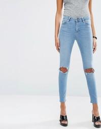 Зауженные джинсы с рваной отделкой ASOS RIDLEY - Синий