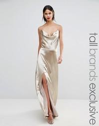 Платье макси с разрезом до бедра Jarlo Tall - Серебряный