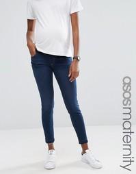 Зауженные джинсы Ridley для беременных с распущенным швом по краю ASOS Maternity - Синий