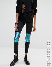 Зауженные джинсы с отделкой пайетками на коленях Noisy May Tall - Черный