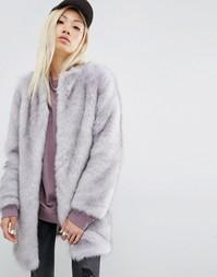 Шуба из искусственного меха Unreal Fur Wizard - Серый
