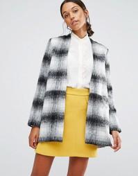 Пальто в клетку без воротника Love & Other Things - Серый