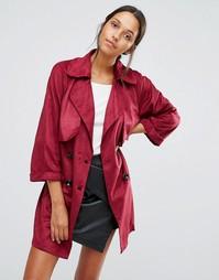 Длинное пальто с поясом Love & Other Things - Красный