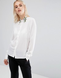 Рубашка с длинными рукавами и вышивкой на воротнике Fashion Union - Белый