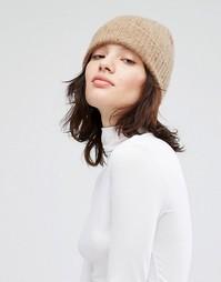 Кашемировая шапка в рубчик Johnstons - Бежевый