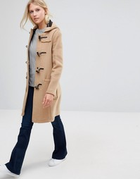 Gloverall Long Slim Duffle Coat in Camel - Коричневый