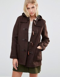 Gloverall Mid Slim Duffle Coat in Brown - Коричневый