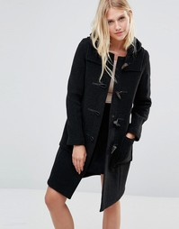 Gloverall Long Slim Duffle Coat in Charcoal - Серый