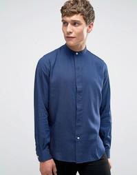 Синяя рубашка классического кроя со скрытой планкой и воротником на пуговицах Paul Smith - Синий