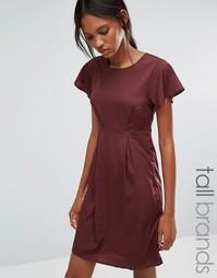 Платье с оборками на рукавах Vero Moda Tall Emma - Коричневый