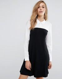 Приталенное платье 2 в 1 с рубашкой BCBG Generation - Черный