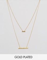 Двухъярусное ожерелье с двумя подвесками с кованным эффектом Gorjana Mave - Золотой
