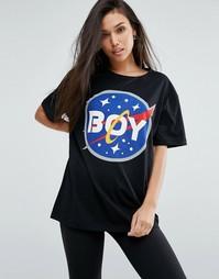 Футболка с космическим принтом и логотипом Boy London - Черный