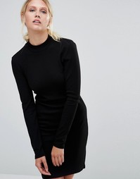 Облегающее платье в рубчик с длинными рукавами Pieces Perla - Черный