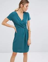Синее платье с запахом Closet - Синий