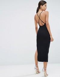 Платье миди с лямкой через шею и бретельками сзади ASOS - Черный