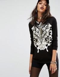 Топ с орнаментом Versace Jeans - Черный