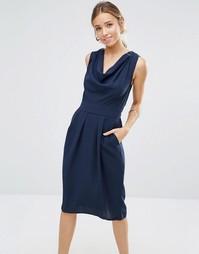 Платье со свободным воротом и завязкой сзади Closet - Темно-синий