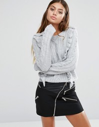 Джемпер с оборками Fashion Union - Серый