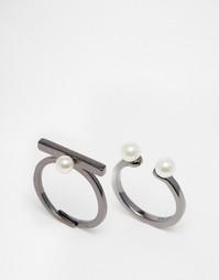 Набор регулируемых колец с искусственным жемчугом и гематитовым покрытием Pilgrim - Серебряный