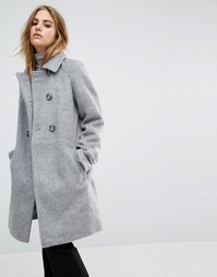 Двубортное пальто First & I - Серый