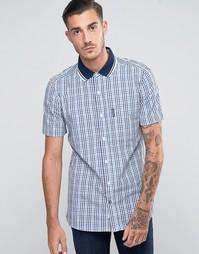 Рубашка в клеточку с короткими рукавами Lambretta - Синий