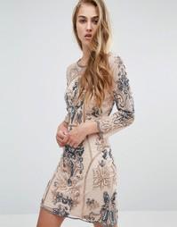 Платье мини с длинными рукавами и отделкой Miss Selfridge - Розовый