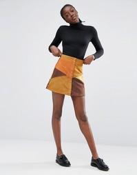 Замшевая мини-юбка в стиле пэчворк Monki - Оранжевый