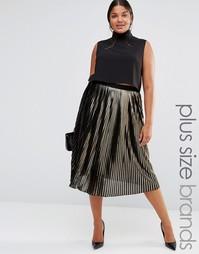 Плиссированная юбка металлик Lovedrobe - Золотой